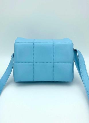 Женская сумка голубая сумка через плечо стеганый мини клатч голубой стеганая сумка кроссбоди2 фото