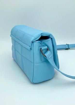 Женская сумка голубая сумка через плечо стеганый мини клатч голубой стеганая сумка кроссбоди3 фото