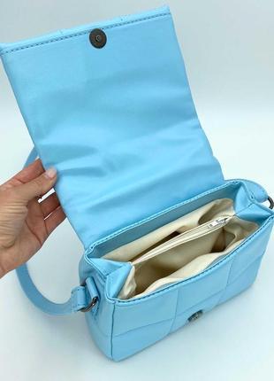 Женская сумка голубая сумка через плечо стеганый мини клатч голубой стеганая сумка кроссбоди4 фото