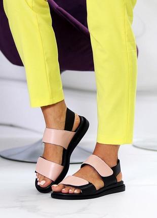 Женские босоножки натуральная кожа низкий ход кожаные8 фото