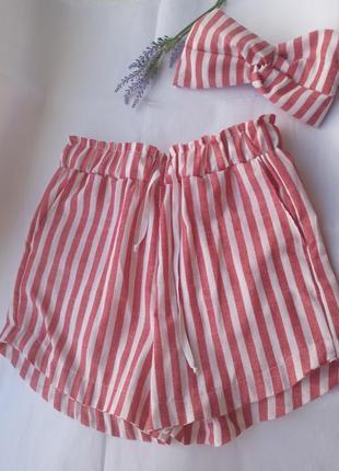 Шорты льняные в полоску высокие летние шорты повязка чалма тюрбан в комплекте