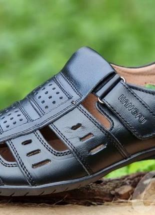 Мужские туфли летние кожаные черные - чоловічі туфлі літні шкіряні чорні4 фото