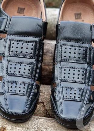 Мужские туфли летние кожаные черные - чоловічі туфлі літні шкіряні чорні2 фото