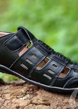 Мужские туфли летние кожаные черные - чоловічі туфлі літні шкіряні чорні8 фото