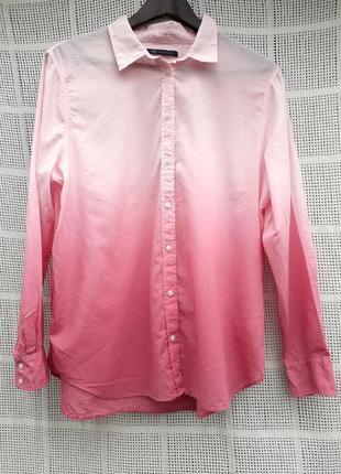 Рубашка градиент амбре омбре простая легкая невесомая хлопок сорочка hm