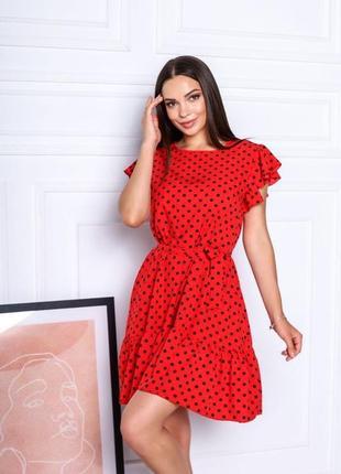Короткое платье горошек. летнее платье выше колена с поясом9 фото