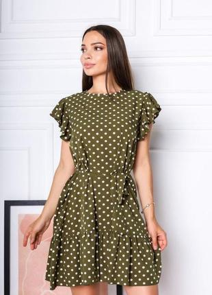 Короткое платье горошек. летнее платье выше колена с поясом3 фото