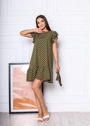 Короткое платье горошек. летнее платье выше колена с поясом1 фото