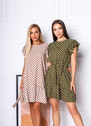 Короткое платье горошек. летнее платье выше колена с поясом4 фото