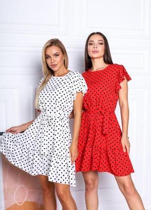 Короткое платье горошек. летнее платье выше колена с поясом8 фото
