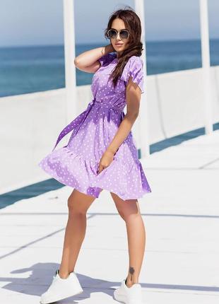 Короткое платье горошек. летнее платье выше колена с поясом6 фото