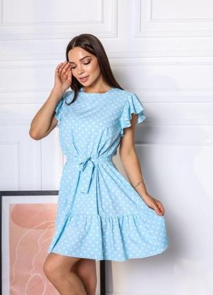 Короткое платье горошек. летнее платье выше колена с поясом7 фото