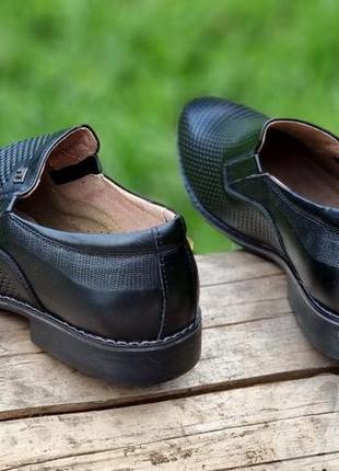 Мужские туфли летние кожаные черные - чоловічі туфлі літні шкіряні чорні5 фото