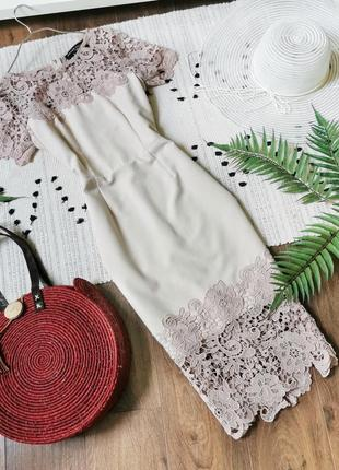 Нарядна сукня по фігурі з мереживом  paper dolls платье-футляр миди пудровое