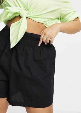 Чёрные хлопковые шорты на резинке с высокой посадкой, тонкие летние больших размеров asos4 фото