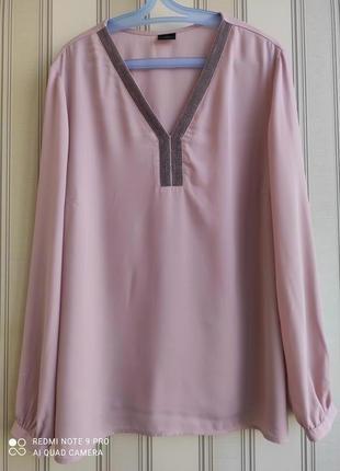 Классная брендовая рубашка, блуза цвет пудра батал
