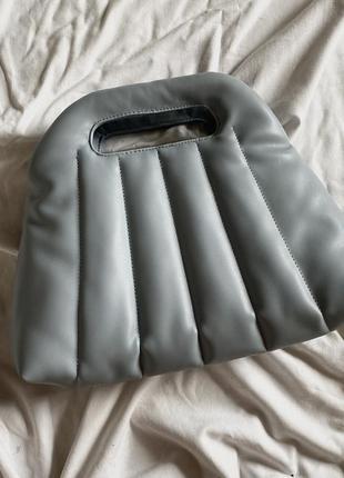Новая голубая трендовая стёганная сумка zara