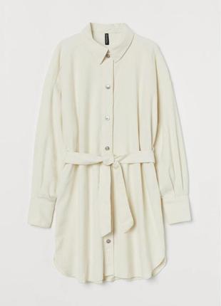 Вельветовое платье-рубашка прямого кроя из хлопка с поясом широкими рукавами2 фото