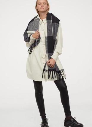 Вельветовое платье-рубашка прямого кроя из хлопка с поясом широкими рукавами1 фото
