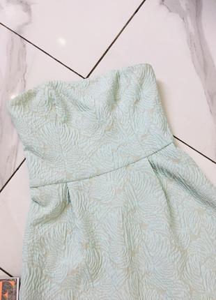 Стильное жаккардовое платье бюстье мятного цвета от top secret  1+1=3 на всё 🎁4 фото