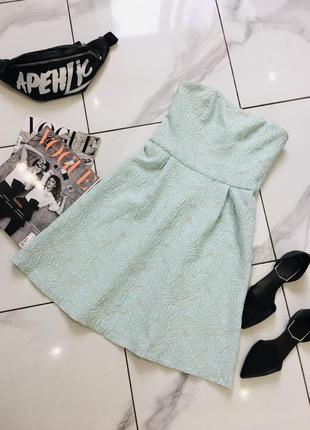 Стильное жаккардовое платье бюстье мятного цвета от top secret  1+1=3 на всё 🎁1 фото