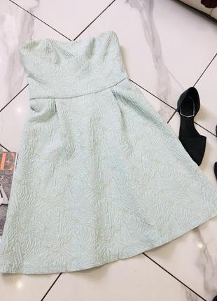 Стильное жаккардовое платье бюстье мятного цвета от top secret  1+1=3 на всё 🎁3 фото
