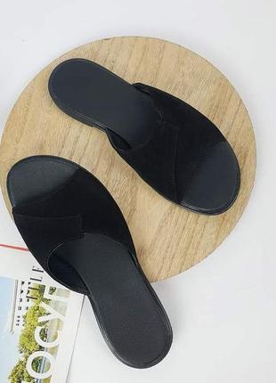 Замшевые натуральные шлепанцы кожаные