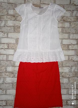 Блуза хлопок с кружевом блуза бавовна з мереживом1 фото