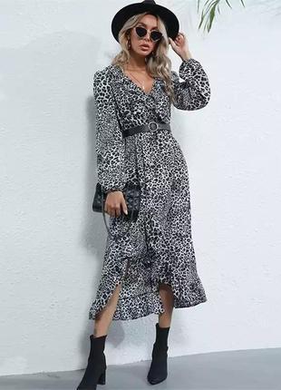 Neophil шифонова сукня з леопардовим принтом