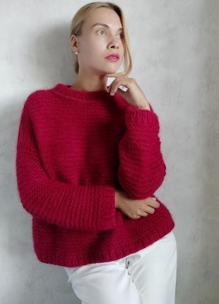 Красный свитер джемпер из ангоры hand made