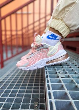 """Nike air max 270 react eng """"barely rose"""" женские розовые спортивные кроссовки для фитнеса тренировок найк жіночі спортивні рожеві кросівки"""