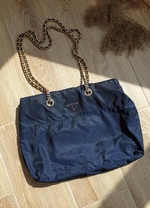 Винтажная сумка prada tessuto nylon chain bag