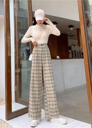 Широкие клетчатые штаны/корейский стиль/аниме