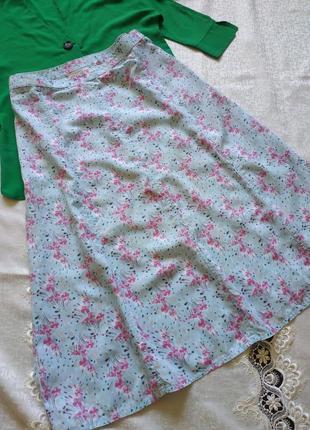 Натуральная миди юбка в цветочный принт