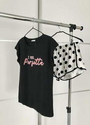 Пижама, женская пижама, піжамний комплект із шортами, піжама футболка шорти.