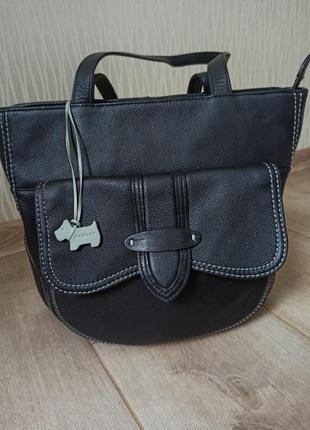 Качественная черная кожаная сумка radley1 фото