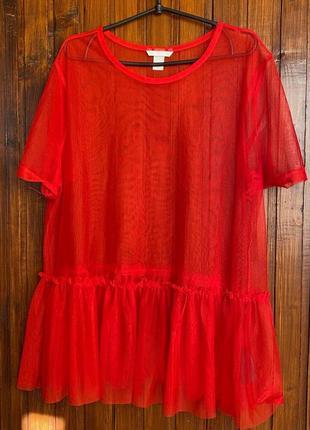 Яркая прозрачная блузка сетка накидка
