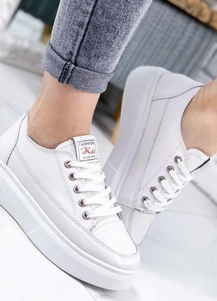 Белые кожаные кроссовки натур. кожа, шкіряні кеди, кеды кожа, кожаные кеды 36-41р код 4125