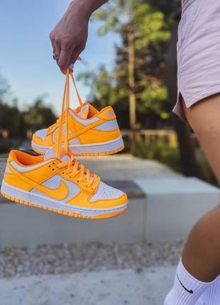 Женские кожаные кроссовки nike jordan dunk low laser orange