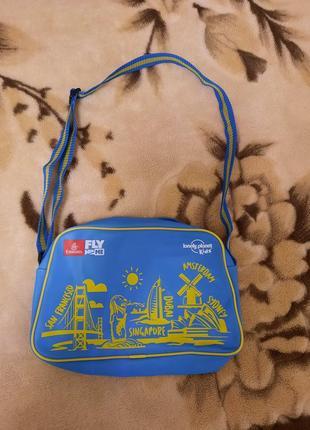 Синьо-жовта сумочка на плече