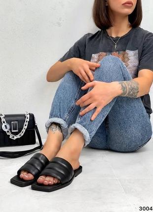 Шлепки натуральная кожа чёрные на широкую ногу7 фото