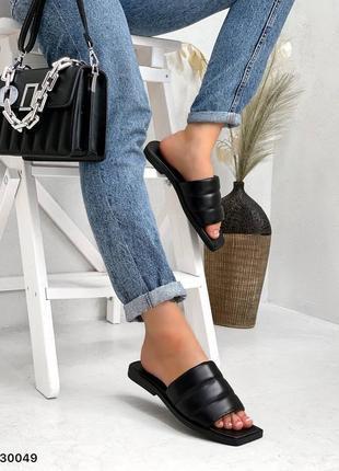 Шлепки натуральная кожа чёрные на широкую ногу2 фото