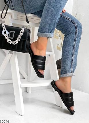 Шлепки натуральная кожа чёрные на широкую ногу4 фото