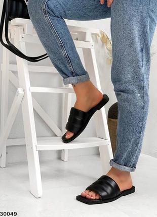 Шлепки натуральная кожа чёрные на широкую ногу6 фото