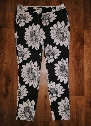 🌺🎀🌺стильные укороченные женские брюки 7\8, штаны, капри в цветочный принт next🔥🔥🔥