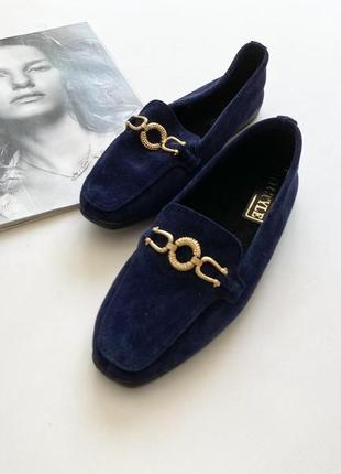 Красивые мокасины туфли замшевые синие 36.5-37р