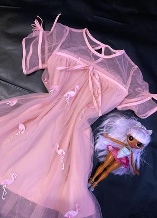 Платье розовое с фламинго 🎀💓