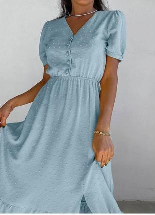 Красиве плаття-міді 🌷 голубе,оливка 🌈 якість 👍