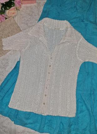 Рубашка белая жатая короткий рукав