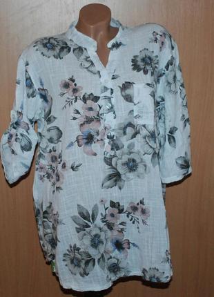Блуза принтованая бренда p.iva (италия) / 95% хлопок/ свободный покрой/ регулируемый рукав/